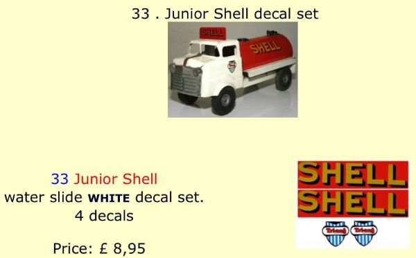 33 . Tri-ang Junior Shell decal set